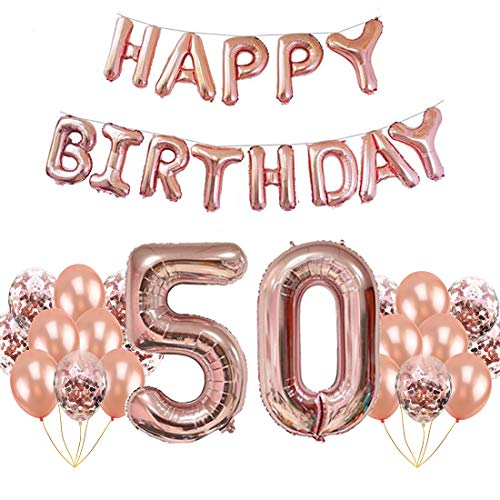 luckypopy 50th Birthday Balloons Large 40 Inch Party Decorations Balloon Supplies Aluminum Foil Balloons with Confetti Balloons Set -