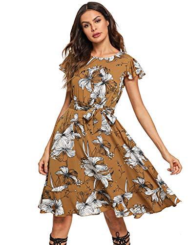 (Floerns Women's Floral Print Ruffle Tie Waist Summer Chiffon Dress Yellow XL)