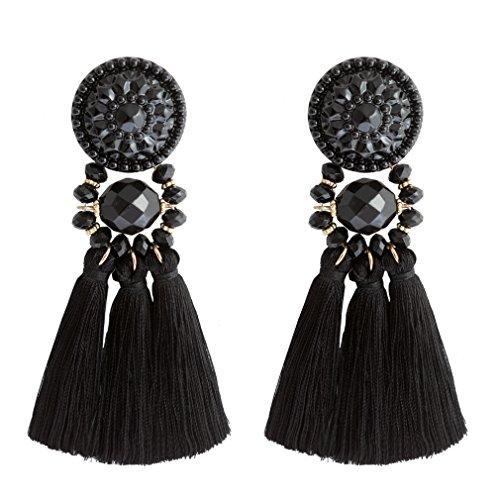 Boderier Bohemian Statement Thread Tassel Chandelier Drop Dangle Earrings with Cassandra Button Stud (Black1)