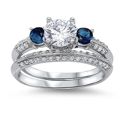 Zirconia Simulated Sapphire Bridal Sterling product image