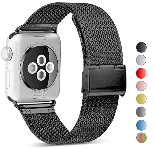 Seoaura Compatible Watch Band 42mm 44mm, Stainless Steel Milanese Loop Replacement Strap with Magnetic Closure Series 4 3 2 1 Sports (Black, 42mm/44mm)