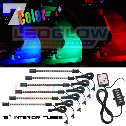 LEDGlow 6pc Multi-Color LED Interior Footwell Underdash Neon Light Kit for Cars & Trucks - 7 Solid Colors - 7 Patterns - Music Mode - Auto Illumination - Universal - Includes 12