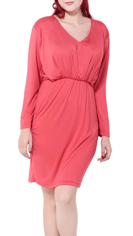 Bigood Plus Size Tief V Kragen Damen Lange Armel Party Kleid Cocktailkleid Korallenrot