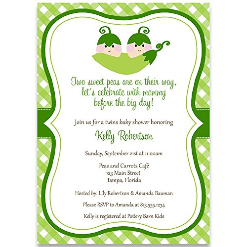 (Sweet Pea, Twins, Baby Shower Invitation, Green, Sweetpeas, 10 Custom Printed Invites with White Envelopes)
