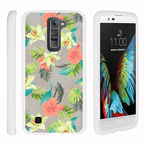 Rubberized White Flowers Design - TurtleArmor | LG K7 Case | LG Tribute 5 Case | LG Treasure Case [Slim Duo] Slim Snap On 2 Piece Hard Cover Protector Rubberized with Unique Designs on White - Hawaiian Flowers