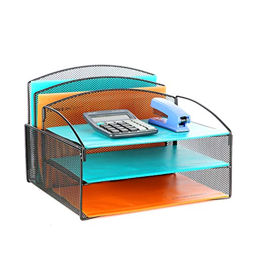 Veesun Desk Organizer,Mesh Desktop File Organizer Letter Paper Tray Holder with 2 Vertical Upright Section and 3 Deep Trays, - Tray Paper 2