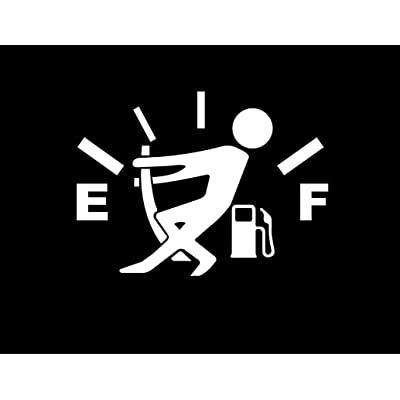 CMI DD970W Gas Gauge Empty Full Decal Sticker | 5.5-Inches by 4-Inches | Premium Quality White Vinyl: Automotive