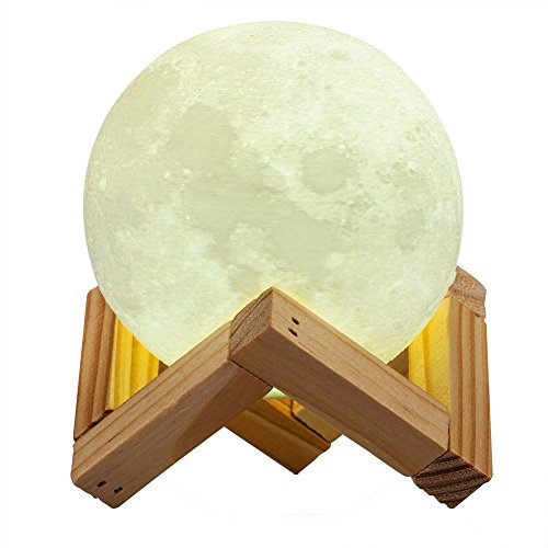 Moon Lamp, Yuanli 3D Printing LED Night Light USB Rechargeable Smart Switch Touch 2 Colors Brightness Dimmable Decorative Light with Wooden Holder(10cm/3.9 ()