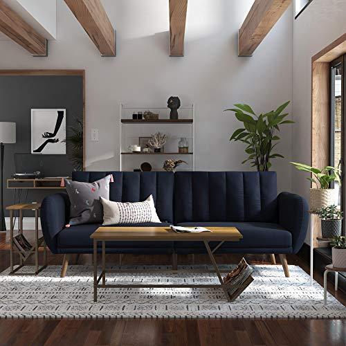 Novogratz Brittany Sofa Futon – Premium Upholstery and Wooden Legs – Navy Blue
