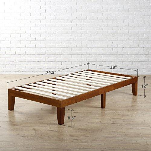Zinus Wen 12 Inch Wood Platform Bed Frames / No Box Spring Needed / Wood Slat Support / Cherry Finish, Twin