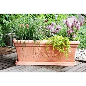 PP Plastic-Products 69-80-2 Laurence Resin Planter Box 69-80 12 in. x12 in. x31 in. - Terra Cotta