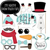 Let It Snow - Snowman Christmas - Holiday Photo Booth Props Kit - 20 Count