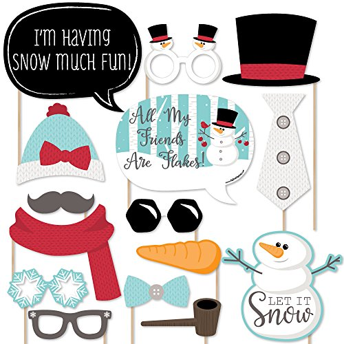 Big Dot of Happiness Let It Snow - Snowman Christmas - Holiday Photo Booth Props Kit - 20 Count]()