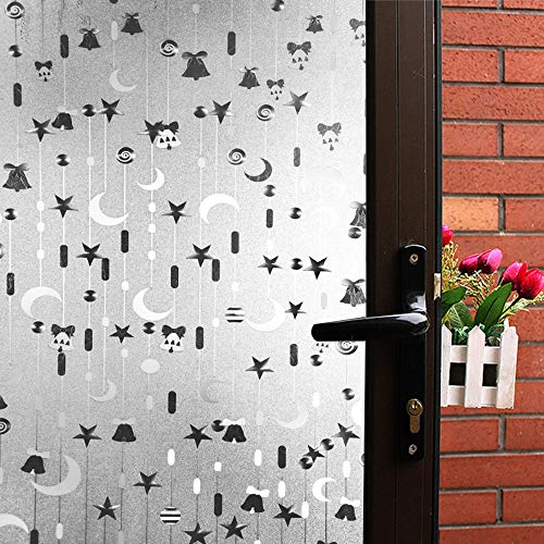 (Mikomer Decorative Window Film,Privacy Door Film,Static Cling Glass Film,Star and Luna Pattern/Removable/Stained Glass/Anti UV for Bedroom and Home Decoration,17.5In. by 78.7In.)