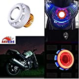 Andride LED Projector Lamp High-Intensity Headlight Stylish Dual Ring COB Inside Double Angel's Eye for All Bikes and Cars (Blue and Red)