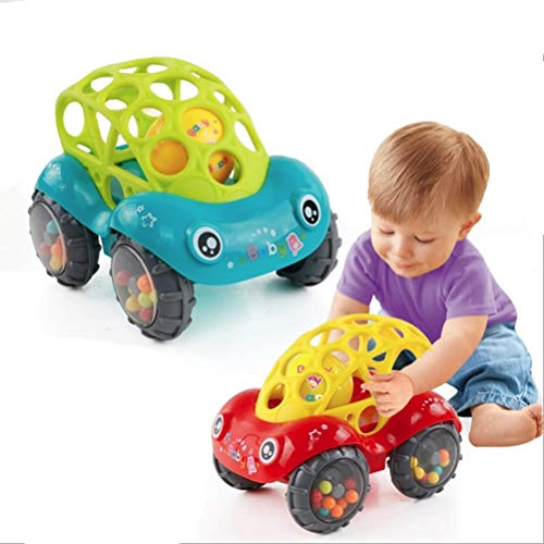 Baby Car Doll Toy Crib Mobile Bell Rings Grip Gutta Percha Hand Catching Ball s for Newborn s 0-12 Months ()