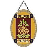 Magnolia Garden Welcome Friends Primitive Pineapple 22 x 19.5 Oval Chain Rope Door Banner For Sale