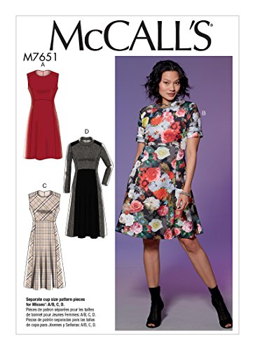MCCALLS M7651 / MP590 Misses' Dresses with Yoke, Princess Seams, and Contrast Options SIZE 14-22 SEWING PATTERN (Princess Sew Dress)