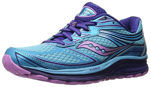 Saucony Women's Guide 9 Running Shoe, Grey/Blue/Citron, 9 M US