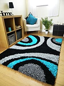 Small Extra Large Rug New Modern Soft Thick Black Silver