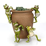 ZAILHWK Planter Pot Hanger Decorations, Frog Flower Pot Resin Creative 3D Craft Frog Figurines Climbing Decoration Animal Ornaments for Office Desk Home Garden Pot Decor,4 pcs