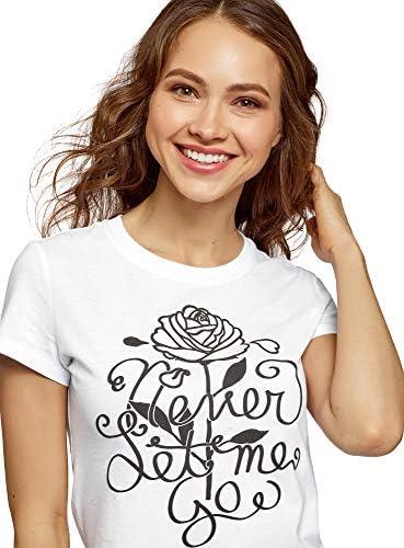 Oodji Ultra damski T-shirt z nadrukiem z okrągłym wycięciem pod szyją: Odzież