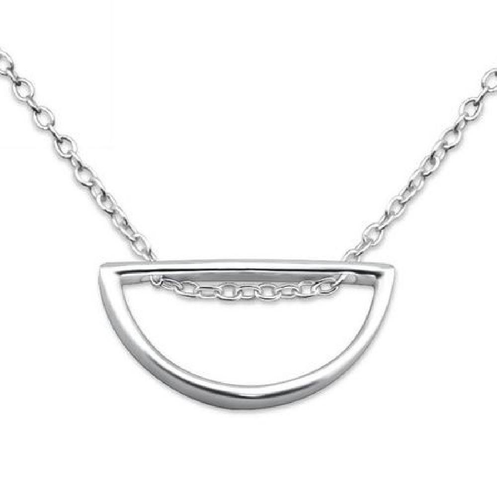 925 Sterling Silver Semi-Circle Necklace So Chic Jewels