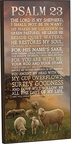 P. GRAHAM DUNN Psalm 23 The Lord is My Shepherd Sheep Grazing 16 x 8 Wood Wall Art Sign Plaque ()