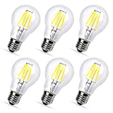 6X E26 4W 110V 400LM LED Filament Candle Bulbs Dimmable A60 A19 Edison Style Vintage LED Light Bulb 360 Degree Lighting Warm White 2700K Replace 40w Halogen Light