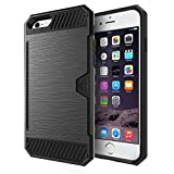 iPhone SE Case,KASEMI [Card Kickstand] [Wallet Slot Holder ] Rubber TPU + Hard PC Hybrid Heavy Duty Dual Layer Armor Protective Shell for iPhone 5 and iPhone 5s Cover-Black