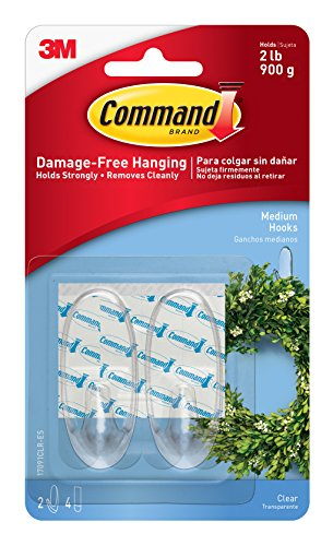 Command Hooks, Medium, Clear, 2-Hook, 6-Pack