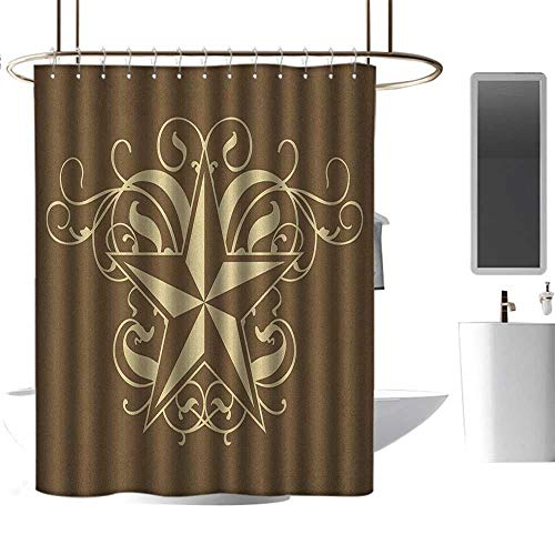 Colorful Shower Curtain Primitive Country,Baroque Style Star Floral Curves Swirls Victorian Classical Art, Brown Pale Yellow,Durable Waterproof Fabric Bathroom Curtain 72