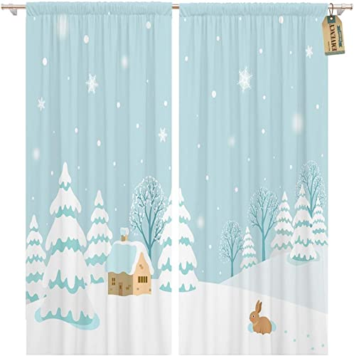 Emvency 104 x 96 Inch Decorative Drapes Blue House Winter Landscape Rabbit Scene Holiday 2 Panels Window Curtains for Living Room Bedroom Printed