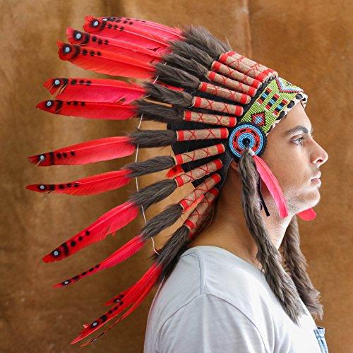 [Novum Crafts Feather Headdress   Native American Indian Inspired   Red] (Indian Headress)