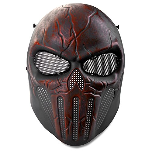 Flexzion Airsoft Paintball Mask Full Face Skull Skeleton Met