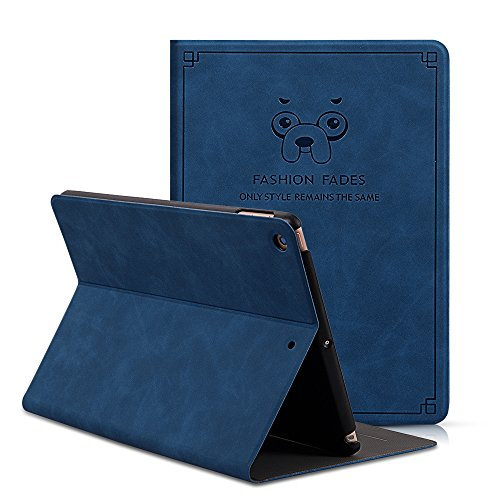 CHINFAI iPad 9.7 2018/2017 Case, Slim Smart Case Soft PU Leather Folding Stand Folio Cover with Auto Wake/Sleep for iPad 2018/2017 Model A1822 A1893 (Dark blue) by CHINFAI