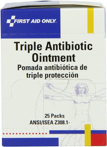 First Aid Only Triple Antibiotic Ointment Pack, 0.5 Gram, 25-Count Boxes (Pack of 3)