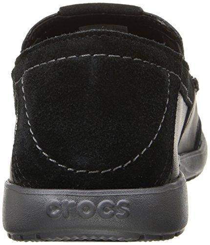Crocs Hombres Walu Luxe Slip-on Holgazán De Cuero Negro / Grafito