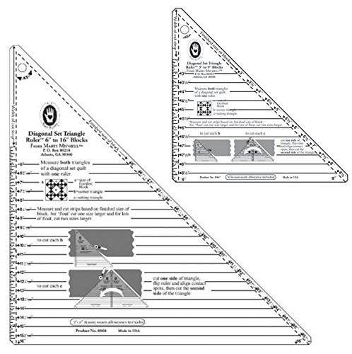 Marti Michell Diagonal Set Triangle Quilting Rulers - 2 Items: Large and Small Right-Angle Rulers