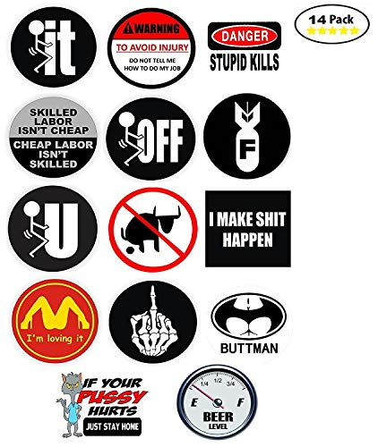 Funny Hard Hat Stickers - BEST SELLER - 14 Decal Value Pack. Great for a Construction Toolbox, Hardhat, Lunchbox, Helmet, Mechanic & More. Fun Gift for Union Working Men & Women. USA Made. by H&E Deals