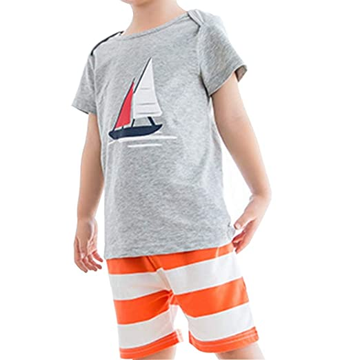 ba850f94 Amazon.com: Duevin Baby Kids 2 Pieces Clothing Cotton Boy Short Sleeve Top  & Shorts Suit for Children Summer: Clothing