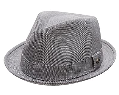 MIRMARU Men's Classic Trilby Striped Short Brim Fedora Hat with Band.