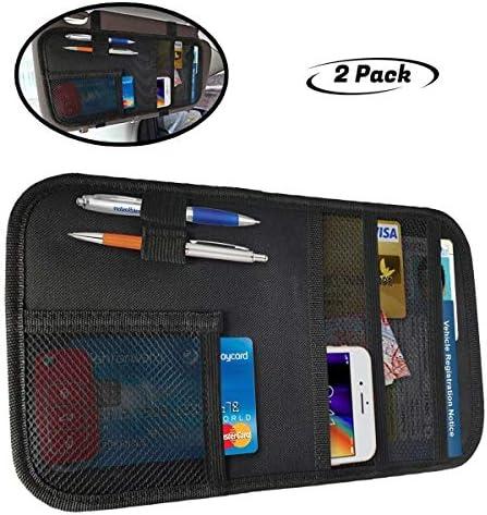 ZugGear Car Sun Visor Organizer Auto Visor Holder Interior Accessories Pocket Organizer Grey Car Registration Holder Document Storage Pouch Pen Holder