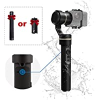 FeiyuTech G5 3-Axis Handheld Water Splash Proof Gimbal (Upgraded Version) with Extension Bar or New Tripod, Adaptable for HERO5, HERO4 SJCam Sports Cams, Autorotation, Anti-loss Screws, Selfie Ready