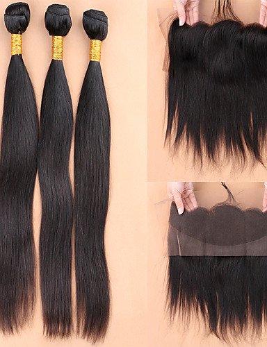 Avec Des 3 Droites Faisceaux Cheveux Oreille Part Frontons De Humains À Jff13x4 Dentelle Frontale 14amp; 12 Brazilian Fermeture QrCtsBodhx