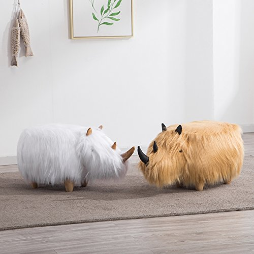 ✿Dreamer Creative Solid wood Footstool Plush Ottoman Change shoes Decorative furniture Rhino stool-yellow by ✿Dreamer (Image #2)