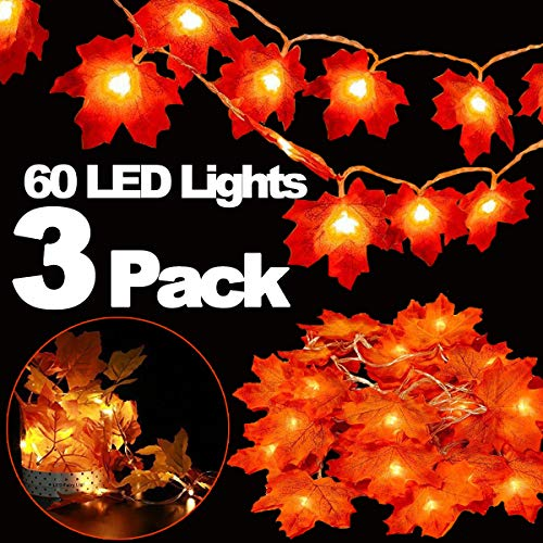 3 Pack Halloween&Thanksgiving Decorations Maple Leaves Fall Garland String Lights,30ft 60LED Waterproof Seasonal Light for Indoor Outdoor Decor Home Party Holiday Christmas (3pack fall garland lights)]()