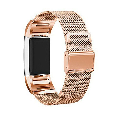 Fitbit Charge 2 Stainless Steel Mesh Watch Bands with Buckle, Efanr Milanese Loop Steel Watch Band Strap Replacement Wrist Bracelet Link Tool for Fitbit Charge 2 Fitness Tracker (Rose - Tiffany Rose Sizing