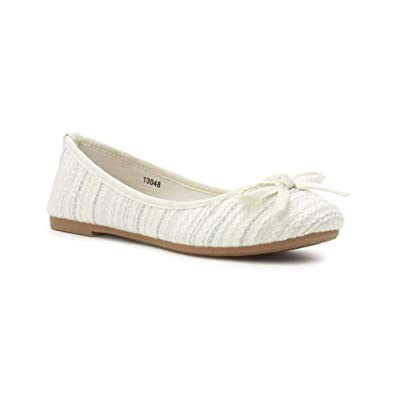 390a88bb070ac Lilley Womens White Bow Knitted Effect Ballerina - Size 3 UK - White