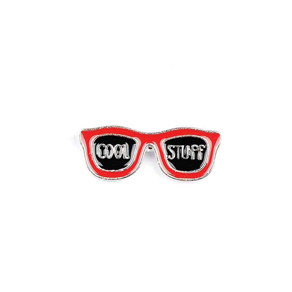Damen Mädchen Anstecker Sonnenbrille Button Brosche Metall Emaille Zugehör Tasche Kleidung Rot Schwarz XIEHOU XHA0AF3I1AX